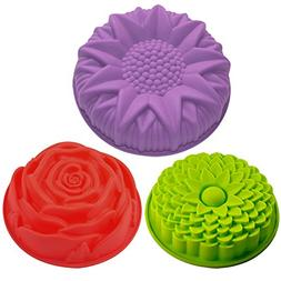 3 Pack Flower Shape Silicone Cake Bread Pie Flan Tart Molds,