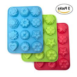 Flowers Silicone non-Stick Mold, SourceTon 3-Pack of Bake Mo