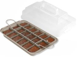 Chicago Metallic Gold Aluminum Slice Solutions Brownie Pan,