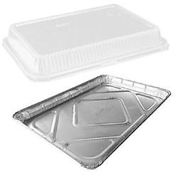 Half 1/2 Size Sheet Cake Aluminum Foil Pan w/Clear High Dome