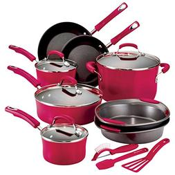 Hard Enamel 15-Piece Cookware Set Color: Red