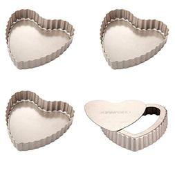 CHEFMADE Mini Heart-shaped Quiche Pan Set with Removable Loo