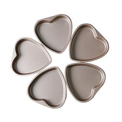 Bakerdream 5 Piece 6 inch Heart Shaped Cake Pan Set Muffin C