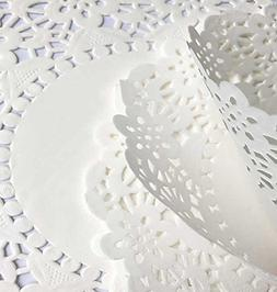 """CONIE Kitchen Home 4.5"""" Round White Lace Doilies Disposable"""