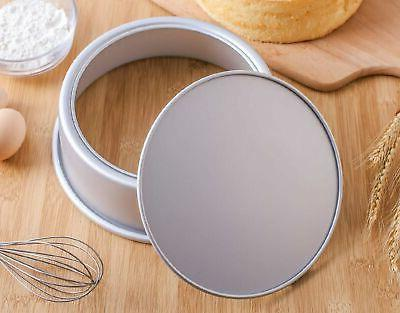 Tosnail 2 Pack 8-Inch Aluminum Round Cake with Removable Bottom
