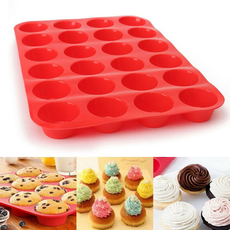 24 Cavity Silicone Muffin CupCake Cookie Chocolate Mould Pan