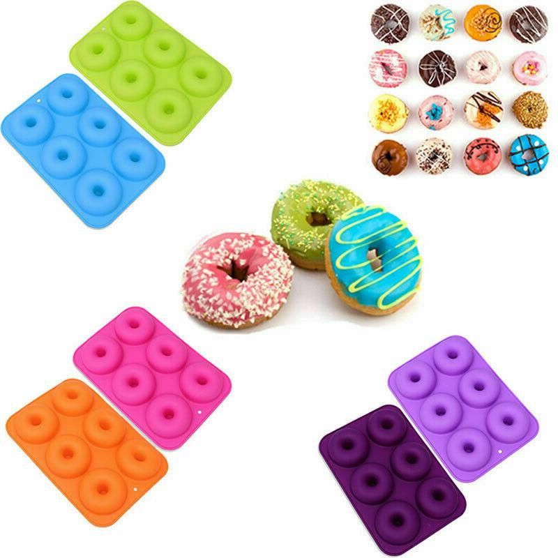 2pcs 6-Cavity Non-Stick Silicone Cake Baking Pan Donut Mold