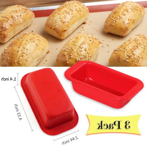 3 PACK Mini Food-Grade Silicone Loaf Bread Cake Mold Baking