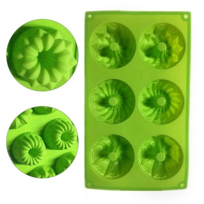 6 Cavity Mini Bundt Savarin Muffin Baking Pan Mould