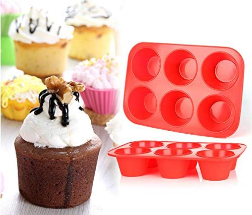 Tosnail 2 Cups Non-stick Silicone Muffin Pan Cupcake Maker