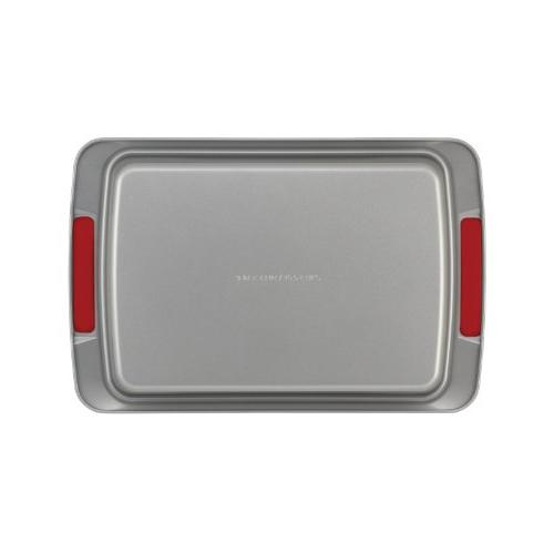 Cake Boss Deluxe Nonstick Bakeware 9-Inch Cake Gray with Red