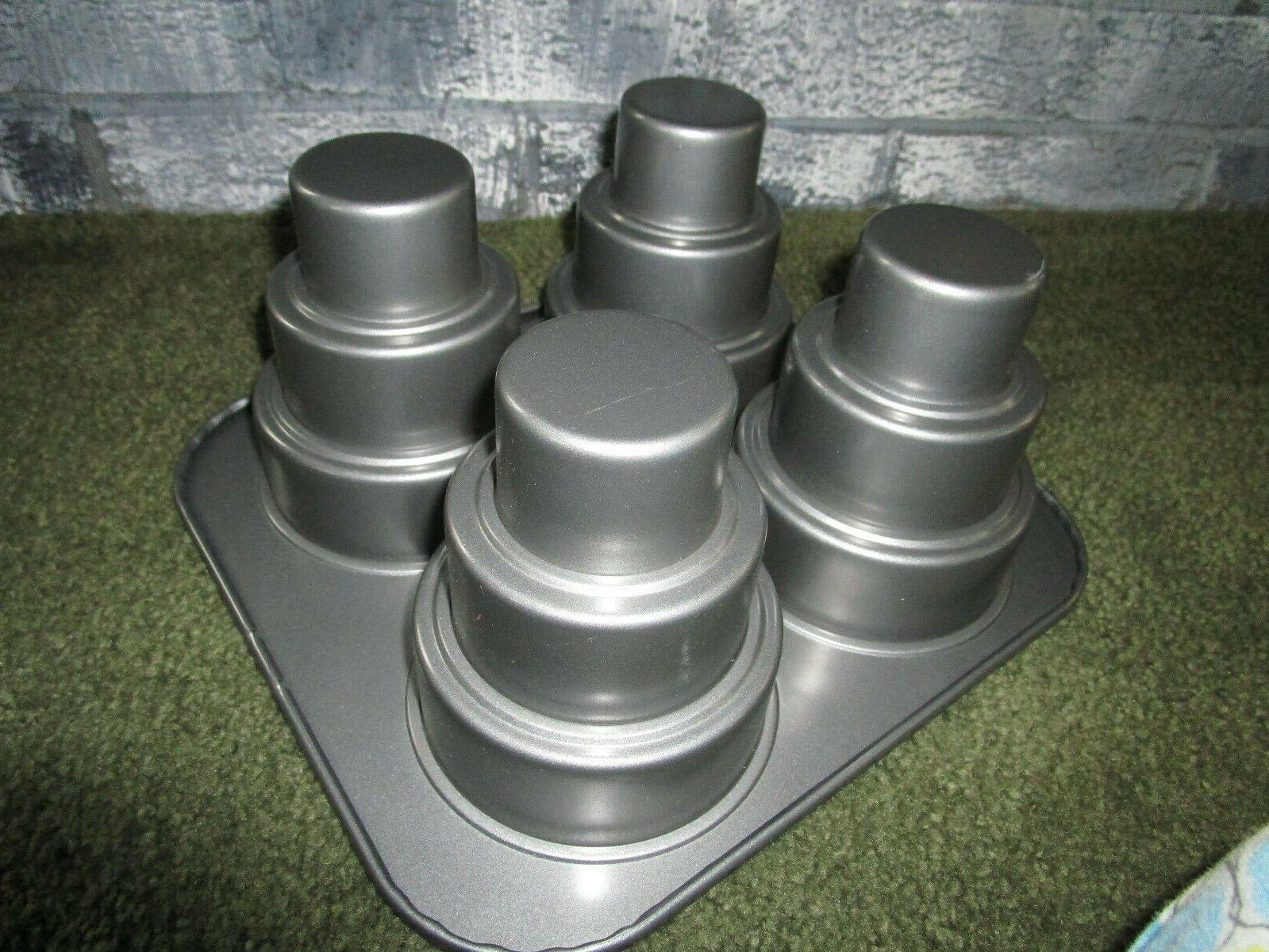 Chicago Metallic Cake Pan 4 Cavity, 10.6 x 4.5