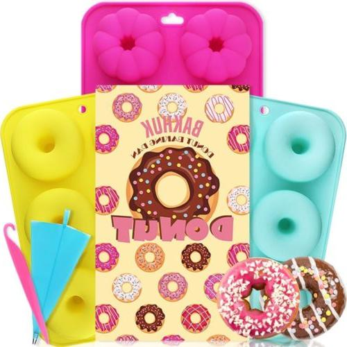 EBONCKET 3PACK 6Cavity Silicone Donut Cupcake Mold Chocolate