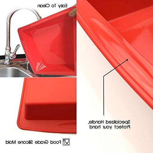 """Silicone Cake 8.5"""" Nonstick Baking Mould Brownie Pan Chocolate and"""