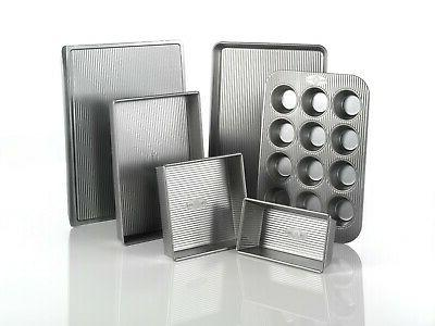 USA Pan Bakeware Aluminized Steel 6 Pieces Set, Cookie Sheet