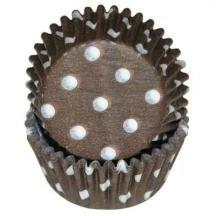Brown Greaseproof Polka Dot Baking Cup Cupcake Liners - Pack