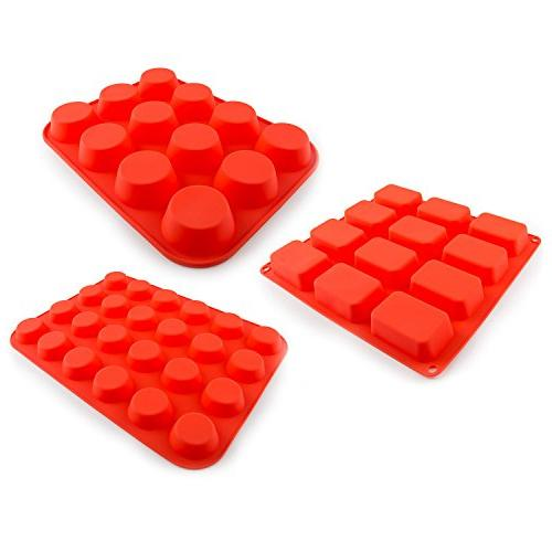 Zenware Non Stick Silicone Mold Tray 3-in-1 for Muffins Brownies