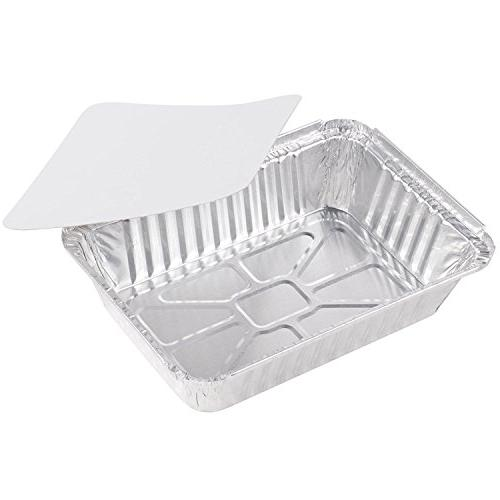 "50-Pack Heavy Aluminum Foil 100% Recyclable Storage Tray Containers Cooking, Baking, Meal Prep, Takeout - 8.4"" x 5.9"" 2.25lb"