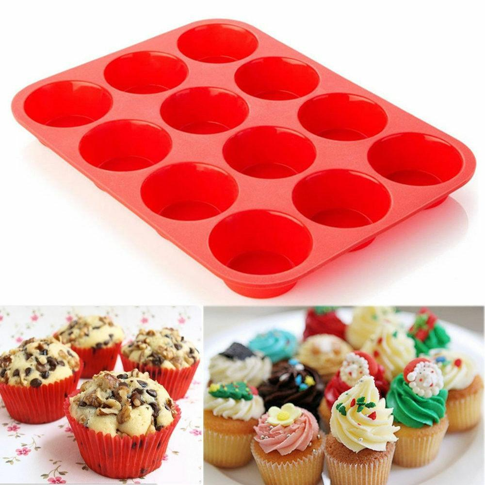 lot of 2 pack, each 12 Cup Silicone Muffin Cupcake Pan brand