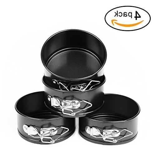 AFYHA 4-inch Springform Pans, Set of Carbon / Non-stick Mini Cake / Cheesecake Pan with Bottom