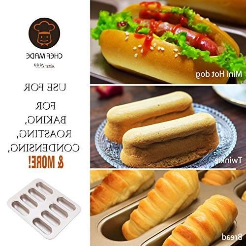 CHEFMADE Non-stick Carbon Steel Hotdog-shaped Pan, FDA Approved