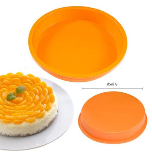 "9"" Round Silicone Cake Mold Pan Muffin Chocolate Pizza Pastr"