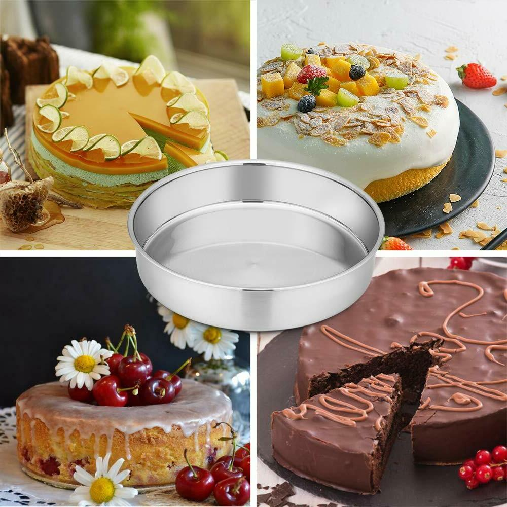 Set 8 Cake and Stainless Round Cake Pans