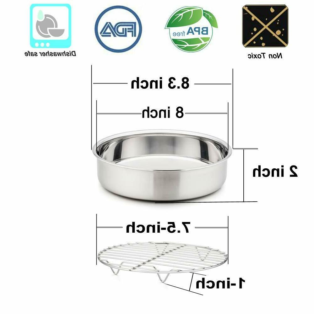 Set of 4, 8 Inch Pan and Rack, Stainless Steel Round Pans