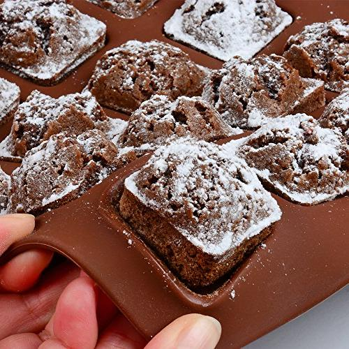 FUNBAKY Silicone Brownie Baking Molds Small Cake Rectangular of