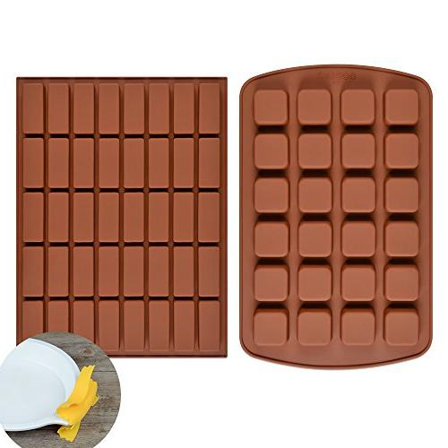FUNBAKY Silicone Brownie Molds Pan - Small Cake Molds Square and Rectangular of