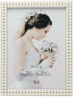 LT Metal Picture Frame Silver Plated With Pearls 5X7 Inch, S