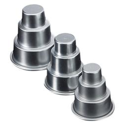 TOOGOO 3x Mini 3-Tier Wedding Cake Tins Pudding Pan Baking M