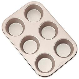 "CHEFMADE 6-cavity-2.7"" Muffin Pan, Non-stick Carbon Steel Cu"