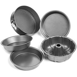Elite Bakeware 5 Piece Nonstick Cake Pans Set with 9 Inch Ro