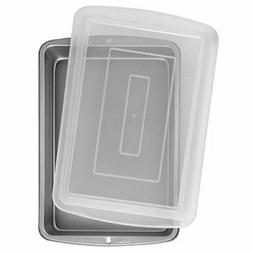 "Wilton 9x13"" Oblong Baking Pan with Cover Plastic Lid Non St"