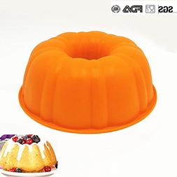 Pumpkin Cake Mold   Silicone 9 Inch Fluted Cake Pan   Round