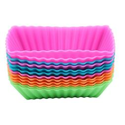 VWH 12pcs Rectangular Silicone Baking Cups Petite Loaf Pans