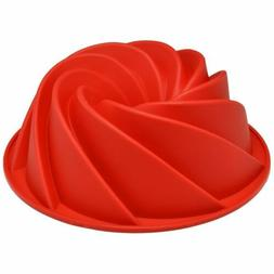 VARANY Red Large Spiral shape Bundt Cake Pan Bread Chocolate