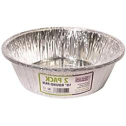 10 Inch Round Disposable Aluminum Foil Pan - 2 Pack