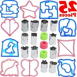 25 Piece Sandwich Cutter Kit for Kids Makes Uncrustable Brea