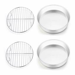 Set of 4, TeamFar 8 Inch Cake Pan and Rack, Stainless Steel