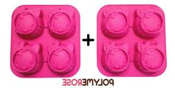 SET OF TWO  Polymerose 4 Cavity Silicone KITTY candy and des