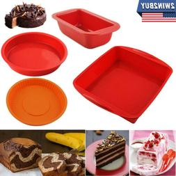 Silicone Baking Cake Pan Bread Molds Square Round Tray Pie M