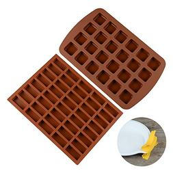 FUNBAKY Silicone Brownie Baking Molds Pan - Small Cake Molds