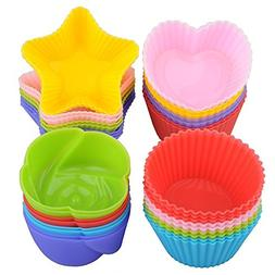 Silicone Cupcake Cake Liners Mold 24 Pack, Nonstick Baking