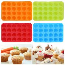 Silicone Cupcake Mould Cake Donut Soap Baking Mold Pan 24 Ca