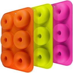 3 Pack Silicone Donut Molds, FineGood 6 Cavity Non-Stick Saf
