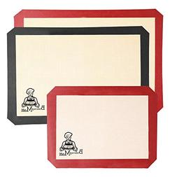 Silicone baking mat - Set of 3 Square Black & Red ECO friend