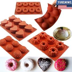 Silicone Mini Bundt Cake Pan Molds Donut Sphere Heart Chocol