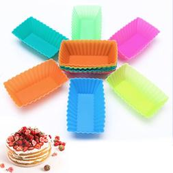 cici store 12PCS Silicone Mini Rectangle Reusable Cupcakes L
